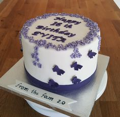 Purple flowers & butterflies theme for 16th birthday