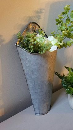 Vintage French Soul ~ 2 Galvanized Metal Wall Pocket Wall Planter Farmhouse Wall Decor by VintageABCs on Etsy Galvanized Wall Planter, Diy Wall Planter, Galvanized Metal, Diy Planters, Garden Planters, Outdoor Planters, Farmhouse Wall Decor, Farmhouse Style, French Farmhouse