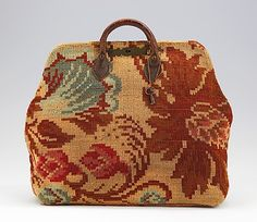 Bag (Carpetbag) Roswell Hovey Date: ca. 1865 Culture: American Medium: wool, leather, metal Dimensions: 19 5/16 x 14 3/16 in. (49.1 x 36 cm) Credit Line: Brooklyn Museum Costume Collection at The Metropolitan Museum of Art, Gift of the Brooklyn Museum, 2009; Brooklyn Museum Collection Accession Number: 2009.300.3926