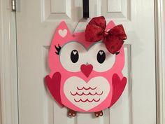 Cute Pink Owl Valentine's Day Wood Door by BeccasFrontDoorDecor