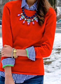 Use Daisy necklace over crewneck sweater!! :) sweetandchicprep: New Blog Post: http://thesweetandchicprep.blogspot.com