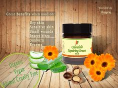 Organic Calendula Repairing Cream calms and repairs irritated skin. Has antibacterial and antiinflamatory properties.