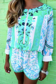 4dbb36bb4df8 Pismo Beach Printed Quarter Sleeve Mint And Green Romper amazing lace