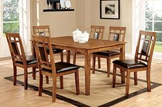 Furniture of America Lazio 7Piece Transitional Dining Set Light Oak * Want to know more, click on the image.Note:It is affiliate link to Amazon.