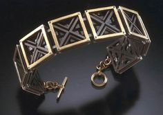E. Douglas Wunder - Square Segmented bracelet | Titanium 18 K gold bi-metal, silver