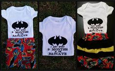 "MADE TO ORDER:  Baby girl and boy batcave onesie and diaper cover/bloomer set/embroidered/batman/""9 months in the batcave"" by Catiesquiltcorner2 on Etsy"