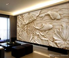 Fake Wood Carvings Relief Paintings New Classical Chinese Large Fresco Stereo Wallpapers Living Room TV Background Wall Lotus Fish Wide Desktop Wallpapers Wide Wallpaper [. Carved Wood Wall Art, 3d Wall Art, Wood Wall Decor, 3d Wall Murals, Boho Living Room, Living Room Paint, Wallpaper For Living Room, Holz Wallpaper, Wallpaper Art