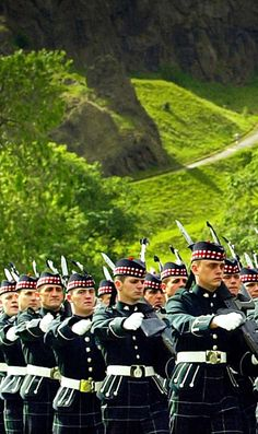 The King's Own Scottish Borderers parade in the grounds of Holyrood Palace, Edinburgh.