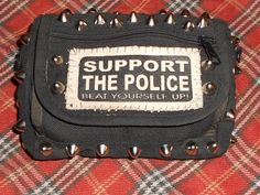 Crust Punk Patched and Studded Belt Pouch