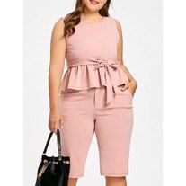 Plus Size Pink Peplum Top and Knee Length Shorts - features light pink peplum top with rounded neckline and flounced hemline. Matching knee-length shorts with side seam pockets complete the look. Plus Size Jumpsuit, Plus Size Peplum, Plus Size Shorts, Plus Size Dresses, Plus Size Outfits, Plus Size Fashion For Women, Plus Size Women, Fashion Pants, Look Fashion