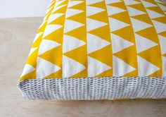 Tri Yellow 40cm x 40cm box cushion Hand screen by InkObject