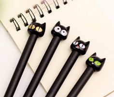 lovely black cat 4 types gel pen(1piece)ship random