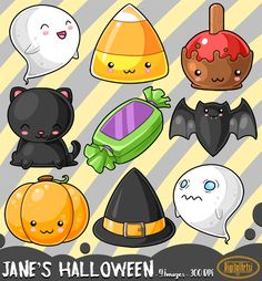 Kawaii Halloween Clipart by DigitalArtsi on @creativemarket