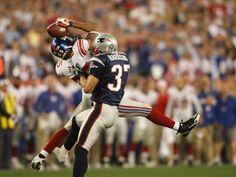 Super Bowl XLII (Giants 17, Patriots 14): New York Giants wide receiver David Tyree hauls in a catch... - Robert Deutsch, USA TODAY