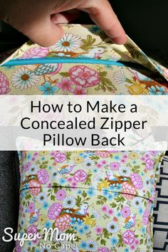 In this sewing tutorial learn how to make a concealed zipper pillow back to give your cushion covers a professional looking finish without the need to use an invisible zipper or buy an invisible zipper foot. Step-by-step instructions with lots of photos walk you through this easy to sew home decor project. #sewing #sewingtutorial #DIY #homedecorDIY #DIYhomedecor