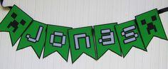 Minecraft Font Party Banner.  {ribbonsandglue.com}