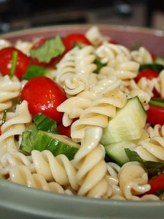 Cucumber & Tomato Pasta with Feta and Olive Garden Dressing