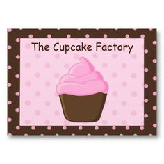 Polka Dot Pink and Brown Cupcake Business Cards