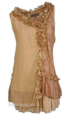 AP Penelope Shirt Dress In Brown & Carmel