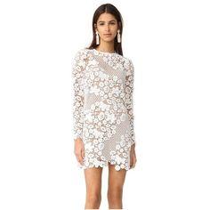 Self Portrait 3D Floral Mini Dress (€420) ❤ liked on Polyvore featuring dresses, white, white mini dress, white long sleeve dress, lace mini dress, long sleeve short dress and long sleeve dress