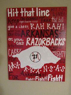 Arkansas Razorback Fight Song Fun Fonts Canvas Painting. $55.00, via Etsy.