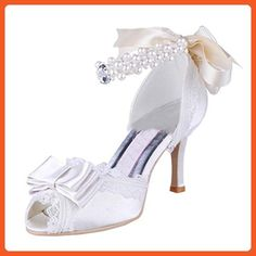 Minitoo Womens MZ552 Fashion White Satin Lace Wedding Formal Party Evening Prom Sandals 6 M US - Sandals for women (*Amazon Partner-Link)