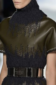Balenciaga Fall 2014...leather / knit diffusion. (Think faux leather as substitute).