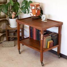 イギリスビンテージ無垢チーク材トロリーワゴン収納 北欧 Scandinavian teak furniture ¥28000円 〆03月28日