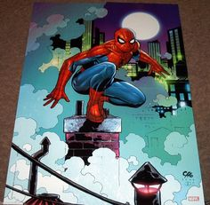 AMAZING SPIDER-MAN POSTER AVENGERS MARVEL COMICS CITY LIFE MOONLIGHT WEBS PARKER