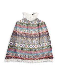 Zunie Girls 2-6x Lace and Geometric Shift Dress  Grey 4