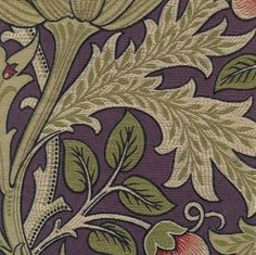 Artichoke Fabric by William Morris, Adapted for Fabric in Sage Natural, Persimmon, Black and Purple, Luscious.