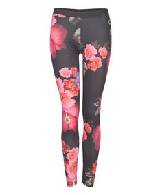 Black & Pink Bright Floral Leggings | zulily