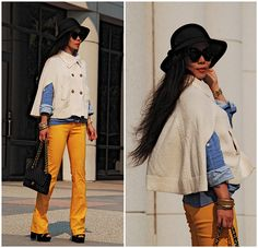 Yellow Pants and Knit Cape (by Hallie S.) http://lookbook.nu/look/2452387-Yellow-Pants-and-Knit-Cape