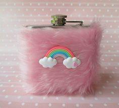 Cute Flask Pink Flask Girly Flask Kawaii Hip Flask for by Kerenika