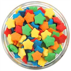 - Rainbow Star Sprinkles - Cute little vibrant stars in Red, Orange, Yellow, Green and Blue to sprinkle atop your homemade sweets! - 3 Ounces