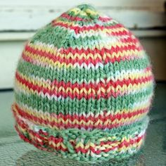 knit baby hat cap yellow green pink warm