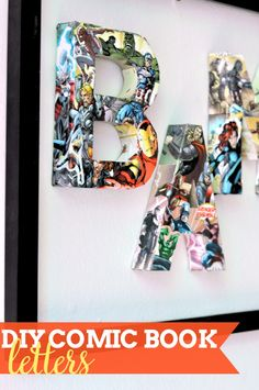 Who loves superheroes? If yes, you'll love these DIY Comic Book Letters! Perfect in a kid's room or play room as wall art or shelf decor! {The Love Nerds}