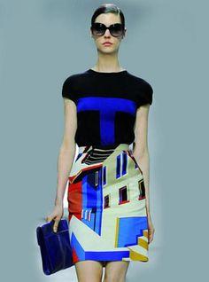 Architectural Design Spell Color Print Dress