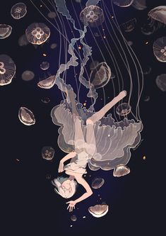 Tagged with wallpaper, mildly interesting, anime, aww, dump; Art Anime Fille, Anime Art Girl, Art And Illustration, Pretty Art, Cute Art, Fantasy Kunst, Fantasy Art, Jellyfish Art, Jellyfish Light