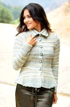Peplum-Cardigan w.Button-Up Collar in Textured Multistripe-Wool. Sweater.FallWinter SALE by speakeasyboutique on Etsy https://www.etsy.com/uk/listing/115072348/peplum-cardigan-wbutton-up-collar-in