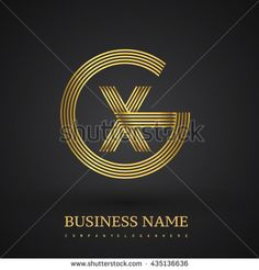 Letter GX or XG linked logo design circle G shape. Elegant gold colored letter symbol. Vector logo design template elements for company identity. - stock vector