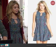 Haley's blue patterned keyhole dress on Modern Family. Outfit Details: http://wornontv.net/40770/ #ModernFamily