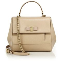 Salvatore Ferragamo Carrie Saffiano Leather TopHandle Satchel (€1.390) ❤ liked on Polyvore featuring bags, handbags, сумки, gold, satchels, chain handbags, salvatore ferragamo handbags, handbag satchel, brown satchel handbag and purse satchel