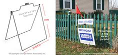 """Real Estate Sign Frame for 24"""" x 18"""" Corrugated Plastic Sign and 24"""" x 6"""" Header, Includes Holder for Small Flag Pole, Round-Rod Steel with Black Powder-Coated Finish"""