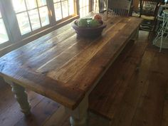 8 Foot Heart Pine Farmhouse Table by WellsWorksFurniture on Etsy