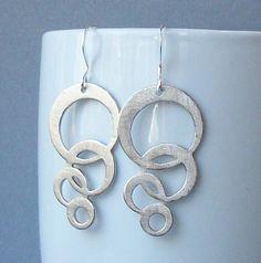 Silver Bubble Dangle Earrings by PeriniDesigns on Etsy, $17.00