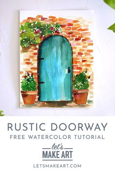 Rustic Doorway Watercolor Kit Paint your own European get away with this Rustic Doorway watercolor supply kit and free step by step tutorial. Learn basic techniques as you paint your way to relaxation. Tree Watercolor Painting, Watercolor Kit, Watercolor Projects, Watercolor Illustration, Simple Watercolor, Watercolor Landscape, Tattoo Watercolor, Watercolor Flowers, Watercolor Animals