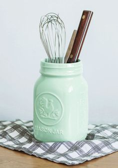 Make these for the kitchen out jars and paint metallic   Rock Around the Crock Container - Mint, Vintage Inspired, Rustic, Good, Solid