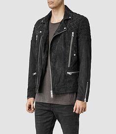 All Saints - Imara Suede Biker Jacket (Washed Black)