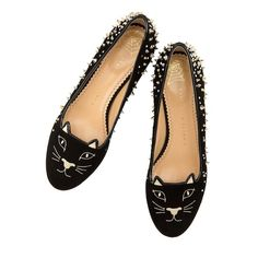 The Charlotte Olympia Kitty Flats add a signature feline finish to your  everyday look. In black suede with a gold metallic contrast heel c63746f3514e
